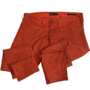 Guess Faux Suede Red Distressed Jegging Pants 31